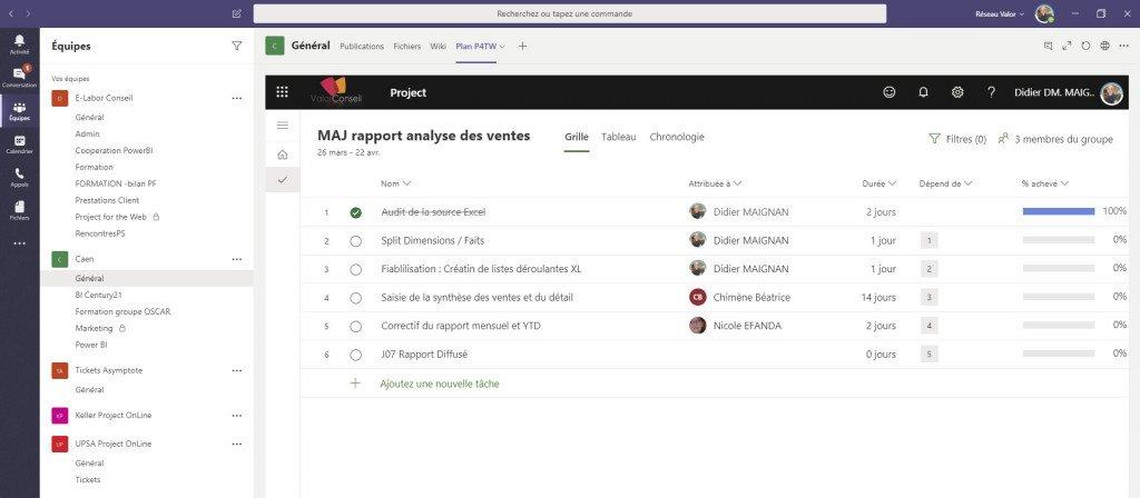 La page du projet peut s'insérer facilement dans Teams, car c'est une page web.