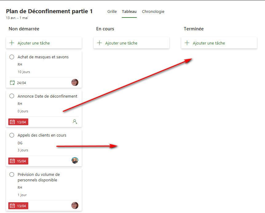 Vue Tableau Kanban de Project For The Web en français